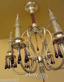 L'éclairage Vintage Paire Assortie Extraordinaires Chandeliers En Argent 1920