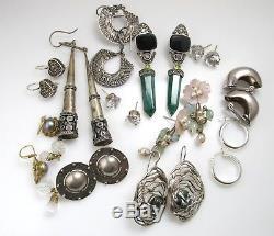 Lot De 12 Paires De Boucles D'oreilles Vintage En Argent Sterling Avec Pierres Précieuses