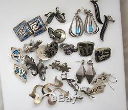 Lot De 17 Paires De Boucles D'oreilles Mexicaines Vintage En Argent Sterling Signées