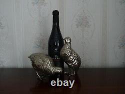 Lovely, Vintage, Bonne Paire D'oiseaux De Grouse Écossais Plaque D'argent
