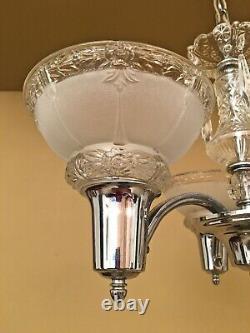 Lustres En Cristal Chromés Vintage Lighting Pair Des Années 1930