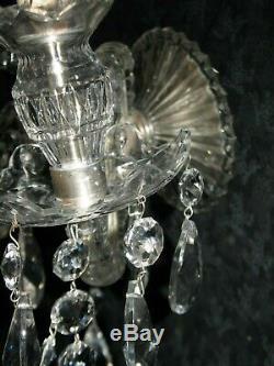 Magnifique Paire Vintage Crystal Wall Sconce Domaine Frais Prêt Accrocher Superbe