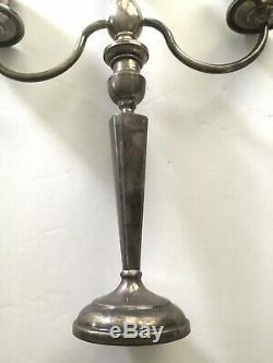 Magnifique Paire Vintage En Argent Sterling De 3 Lumière Candélabres
