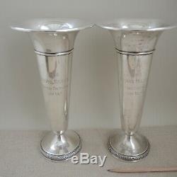 Matched Pair Silver Trophy Golf 1949 Vase À Trompette Santa Barbara 1949 Vtg