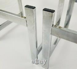 Mid-century Métal Verre Moderne Chrome End Tables Space Age Art Déco Vintage Paire