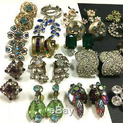 Mieux Vintage Strass Clip Boucles D'oreilles Lot, Verre Argent / Or 25 Paire Qq157zz