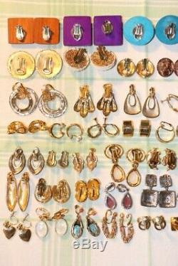 Modern Vintage Lot 53 Paires Clip Vis Oreilles Or Et Ton Argent Perle Fausse
