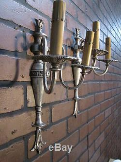 Mur Anciennes Paire Sconces Plaque Argent 2 Bras Lumières Mur