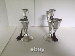 Nice Vintage Sterling Paire Duchin Pondéré Triple / Bougie Unique Candelabras