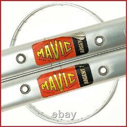 Nos Paire Mavic Argent 7 Jantes 28 700c 32h Trous Vintage Tubulaire 70s Léger