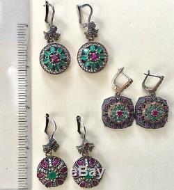 Nouveau! Trois Paires De Boucles D'oreilles En Argent Sterling 925 Vintage De Style Rubis Et Émeraude