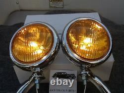 Nouvelle Paire 6 Volts Small Vintage Style Fog Lights With Chrome Brackets