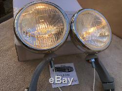 Nouvelle Paire Claire De Petites Lampes De Brouillard De Style Vintage De 12 Volts, Livrées Avec Des Supports Gris