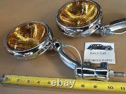 Nouvelle Paire De 12 Volts Small Vintage Style Fog Lights With Chrome Brackets