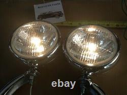 Nouvelle Paire De Lumières De Brouillard Claires De 12 Volts De Petit Modèle Vintage Avec Des Supports De Chrome