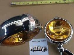 Nouvelle Paire De Petites Lampes De Brouillard De Style Vintage De 6 Volts Avec Capuchon De Brouillard Et Supports Chromés