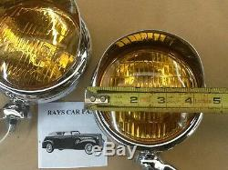 Nouvelle Paire De Petites Lampes De Brouillard De Style Vintage De 6 Volts Avec Visières Et Supports Chromés