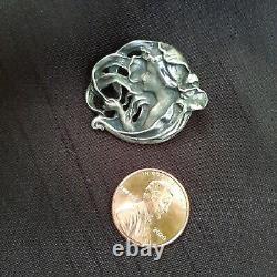 Pair Antique Art Nouveau Sterling Silver Slide Locket & Vintage Broch/pendentif