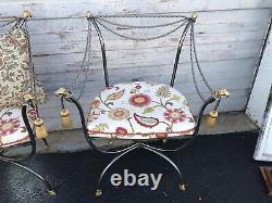 Pair Hollywood Regency Rams Head/hoof Vintage Gilt Metal Rope & Tassel Chaises
