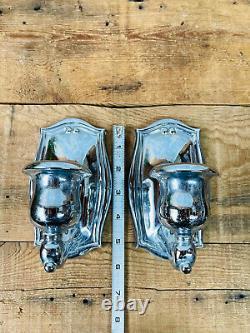 Pair Vintage Signé Chrome Sconces Lampe Murale D'origine Pour La Restauration Antique