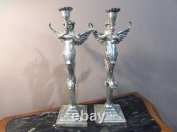 Pair Vintage Silver Tone Mermaid Angel Melusine Candlestick Candle Holders
