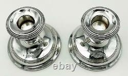 Pair Vintage Sterling Silver Dwarf Candlesticks London 1977 Da-mar Argenterie