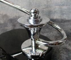 Pair Vtg 1930's S-shaped Machine Age Art Déco Chrome - Black Glass Lamps