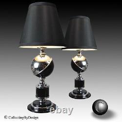Pair Vtg 1933 Mondes Fair Art Deco Chrome & Lampes Saturne Noir Restored