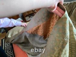 Paire (2) De Panneaux De Draperie De Fortuny Persiano Vintage En Apricot Sur Argent