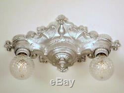 Paire (2) Disponible Art Déco Vintage Victorien 2 Luminaire De Plafond Lumière Restaurer