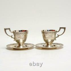 Paire (2) Mauser Vintage Pour Brand-hier, Chased Sterling Demitasse Cups & Saucers