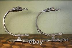 Paire 2 Vintage French Empire Silver Rideau En Métal Tie Dos Crochets Chateau Antique