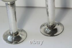 Paire (2) Vintage MID 20thc Moderne Swid Powell Argent Plate Bougeoirs