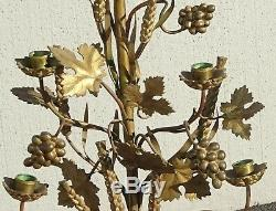 Paire 36h Vintage Or Table Top Floral Candélabres Laiton Bougeoirs Lumière