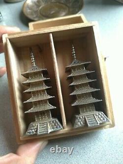 Paire 950 Argent Vintage Japonais Sterling Pagode Salt Pepper Shakers Boîte Nouvelle