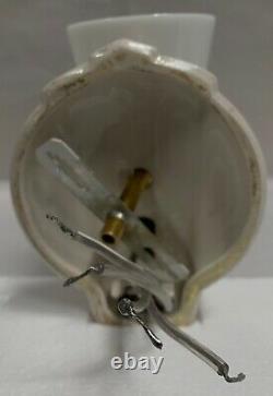 Paire Amazing Vtg Deco Porcelain Bathroom Sconces With Silver Accent Stripes A75