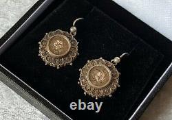 Paire Antique Victorienne Argentée De Marque De Boucles D'oreilles Dangly