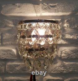 Paire Assortie De Laiton Antique De Cru Et Lampe De Lustre De Mur De Cristaux
