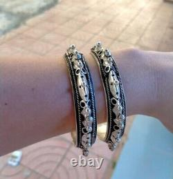 Paire Bracelets Vintage Argent Sterling 1000 Main Bangles D'afrique Du Nord