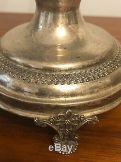 Paire Chandeliers En Argent Sterling 925 Candélabre Ornement Vintage Antique