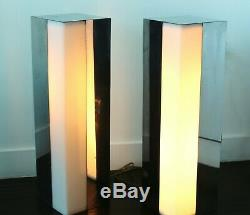 Paire Chrome Rectangulaire Grand Lampes De Table Hollywood Regency Century MID Vintage