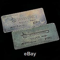Paire Consécutive De Barres D'argent Vintage Engelhard D'un Demi-kilo, Avec Boîtes D'origine