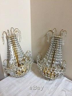 Paire D'appliques À 3 Ampoules Vintage En Cristal Européen