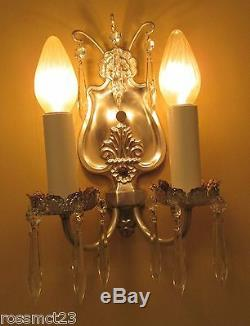 Paire D'éclairage Vintage 1920 Antique Cristal Appliques D'argent