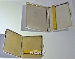 Paire D'étuis À Cigarettes Vintage De La Seconde Guerre Mondiale En Argent Sterling 1935-1940 Lovers Tokens