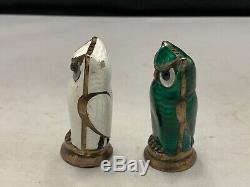Paire David Andersen Owl Sel Et Poivre Shakers D'argent En Émail Norvège Vintage