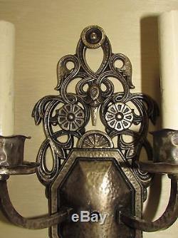 Paire De Appliques Style Oscar Bach En Bronze Argenté D'époque Art Déco