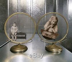 Paire De Art Déco Vintage Epns Plaqué Argent Cadres Photos Avant Verre