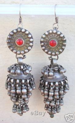 Paire De Bouchons D'oreilles Vintage Antique Tribal Old Silver