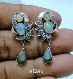 Paire De Boucles D'oreilles Pendantes En Argent Vintage Serti De Diamants, En Or 14k
